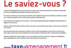 CALCUL DE LA TAXE D'AMENAGEMENT